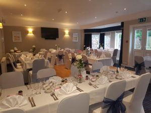 Photo of the Seafield Hotel dining room set up for a wedding